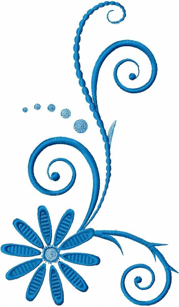 Blue swirl free embroidery design 32 - Decoration element - Machine ...