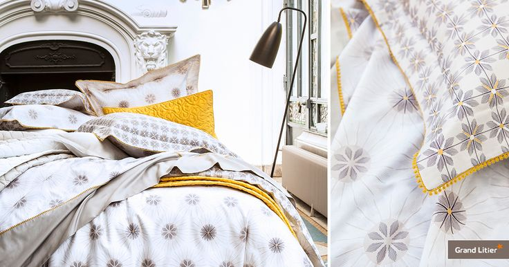 Grand Litier : linge de lit Alexandre Turpault, Messidor. En satin de coton égyptien avec un tissage de 120fils/cm², ce linge est imprimé de soleil au style vintage.