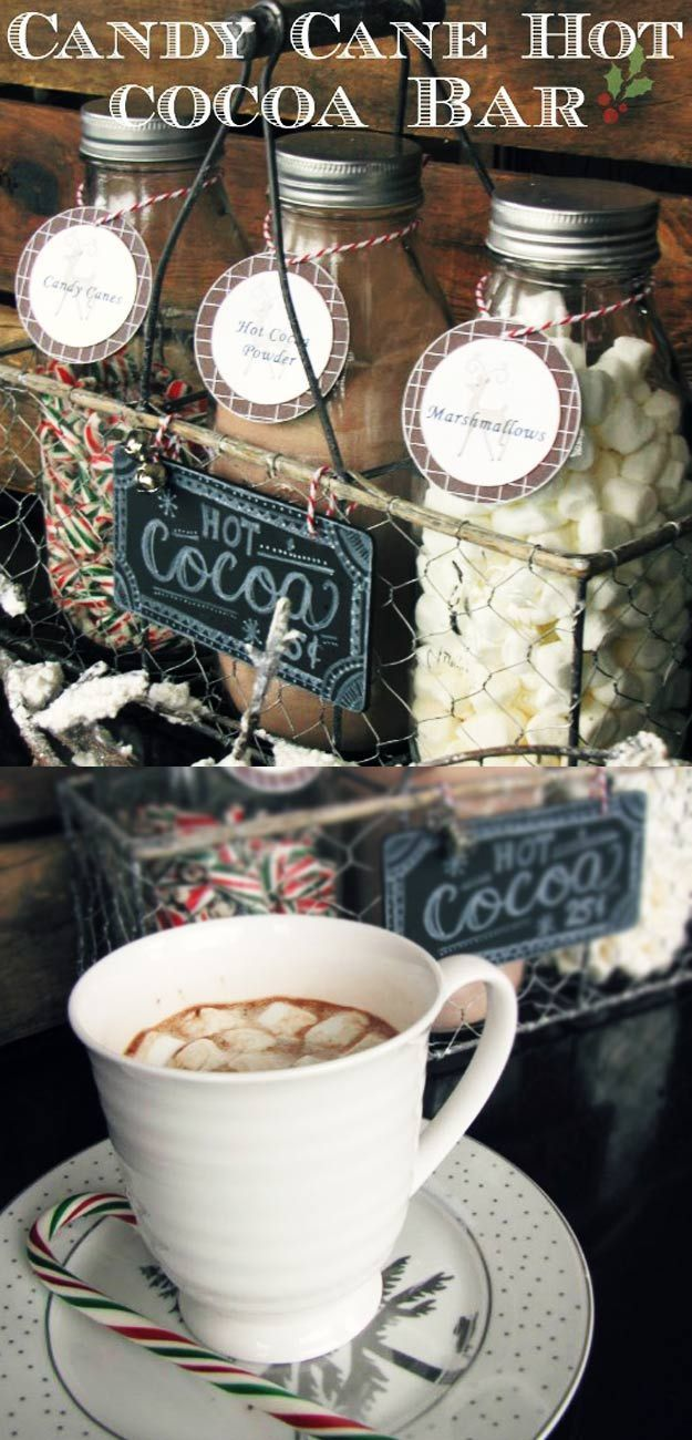 Homemade DIY Gifts in A Jar   Best Mason Jar Cookie Mixes and Recipes, Alcohol Mixers   Fun Gift Ideas for Men, Women, Teens, Kids, Teacher, Mom. Christmas, Holiday, Birthday and Easy Last Minute Gifts   Candy Cane Hot Cocoa Bar Gift    http://diyjoy.com/diy-gifts-in-a-jar