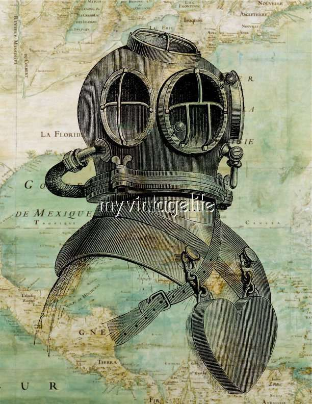 Vintage Nautical Map with Dive Helmet Quilting Fabric Block