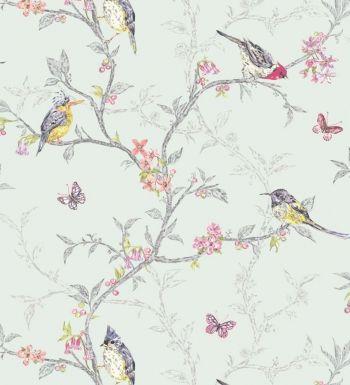Papel pintado romántico con pájaros y ramas fondo verde agua claro - 40964