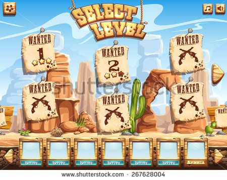 Example of level selection screen for the computer game Wild West - stock vector