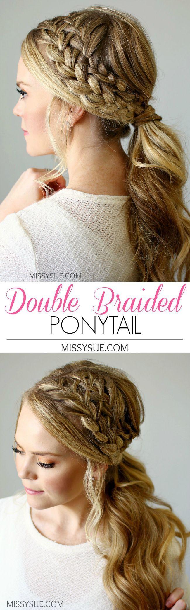 Double Braided Ponytail   http://MissySue.com top braid hairstyles, easy braids, kid braids, fashion braid