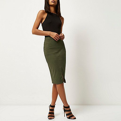 Khaki faux suede pencil skirt - midi skirts - skirts - women