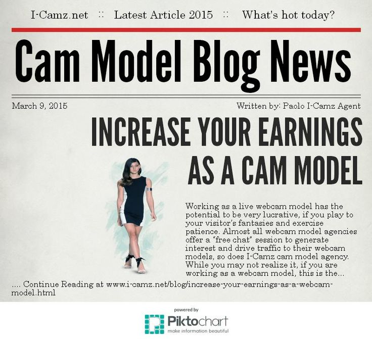 Latest article from www.i-camz.net Cam Models Blog - Want to know how to increase your earnings as a cam model? www.i-camz.net/blog/increase-your-earnings-as-a-webcam-model.html #EarnMoneyWithYourCamJob #WebcamModels #WebcamJobs