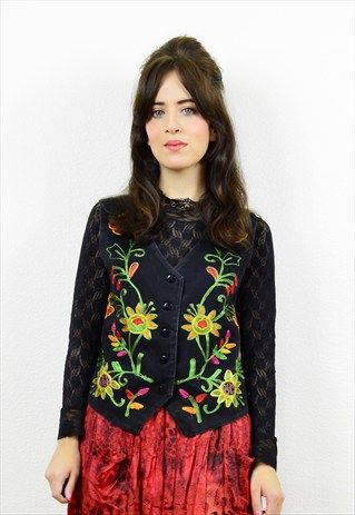 90s+black+boho+floral+embroidered+waistcoat