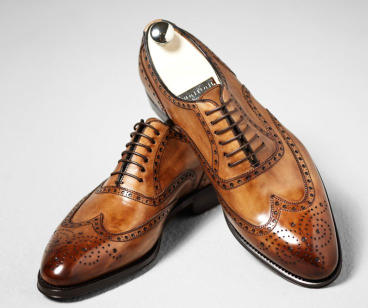 Bontoni leather tan brogue oxford shoes
