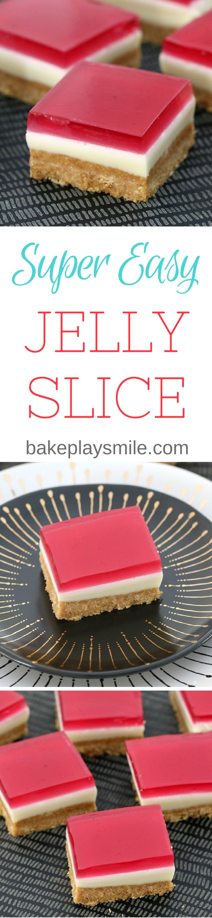 A super easy Jelly Slice recipe that the whole family will LOVE! This classic favourite is so simple to make… and equally as delicious to eat!!  #jelly #slice #easy #recipe #best #classic #kids #thermomix #conventional