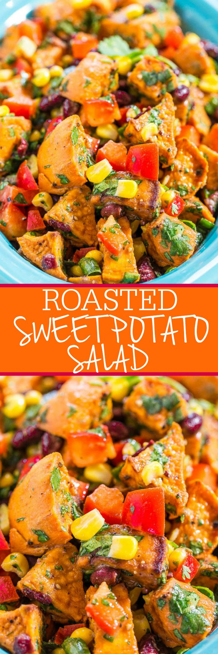 Roasted Sweet Potato Salad - Goodbye mayo-loaded, mushy, boring potato salad. Hello to a Mexican-inspired potato salad full of flavor and texture with corn, black beans, peppers, and cilantro!!