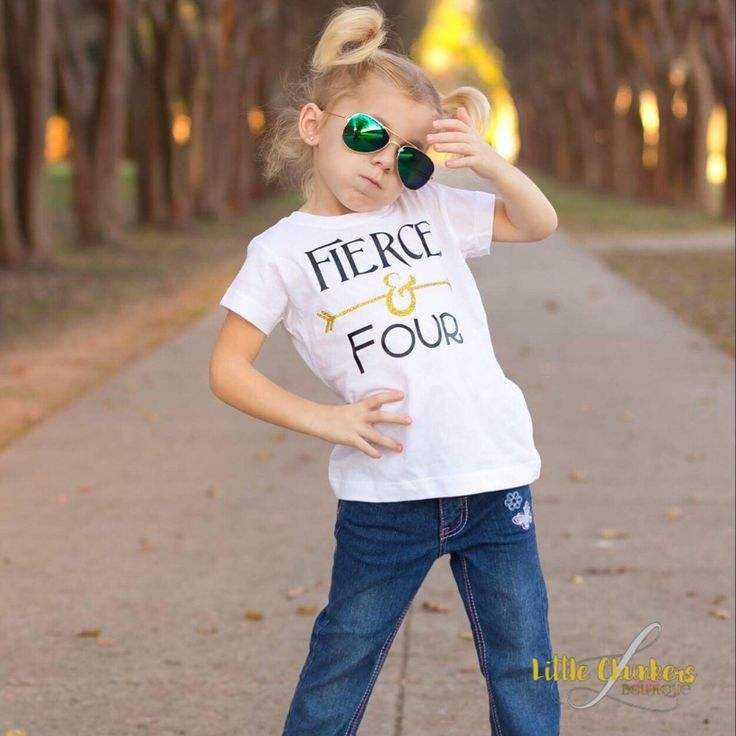 Four year old can be so fierce! Show your child's spirit with this cute top. Great for boys and girls.
