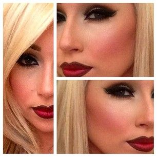 Bold red lips with flawless foundation contour and highlight makeup