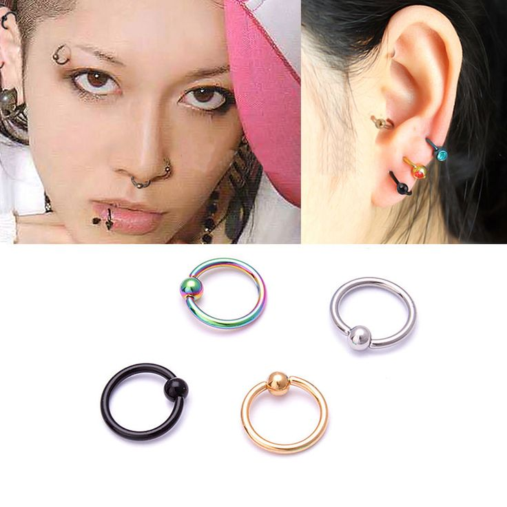 5 piece/lot Surgical Steel Hoop Ring Piercing Ball Closure For Lip Ear Nose Eyebrow Nipple Golden Rose Ball body jewelry