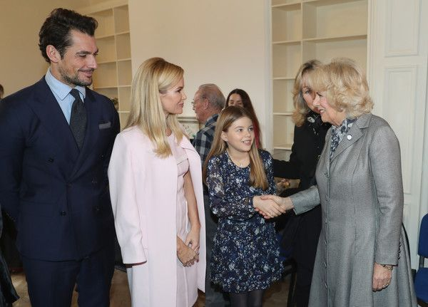 Camilla, Duchess Of Cornwall (R) with David Gandy, Amanda Holden and her daughter Alexa Hughes during her visit to Battersea Dogs and Cats Home on February 1, 2017 in Old Windsor, England. - The Duchess Of Cornwall Visits Battersea Dogs & Cats Home, Old Windsor