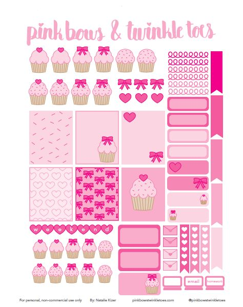FREE Pink Cupcake Cutie Planner Stickers: Free Printable