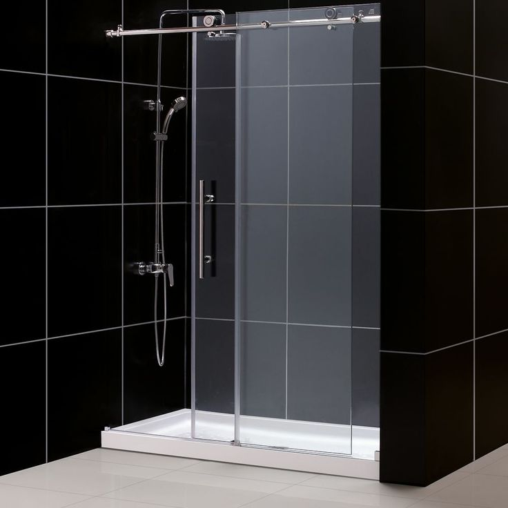 DreamLine Enigma-X Fully Frameless Sliding Shower Door and SlimLine 34 x 60 inches Single Threshold Shower Base