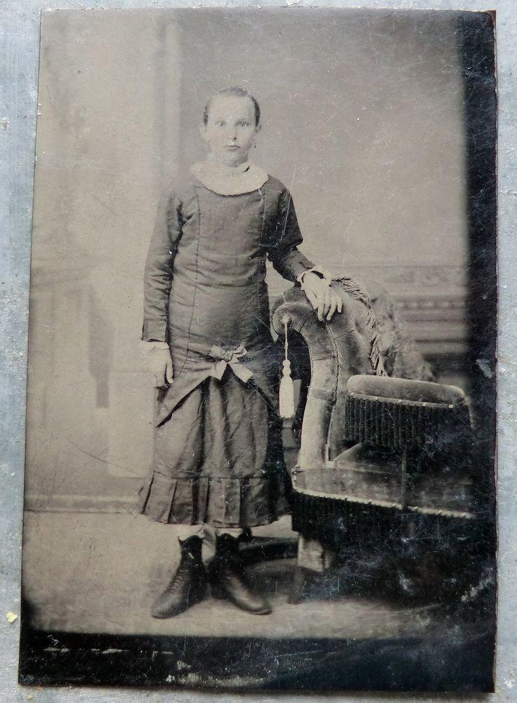 Late 1800's Tin Type Photo of Sarah - Older Victorian Girl