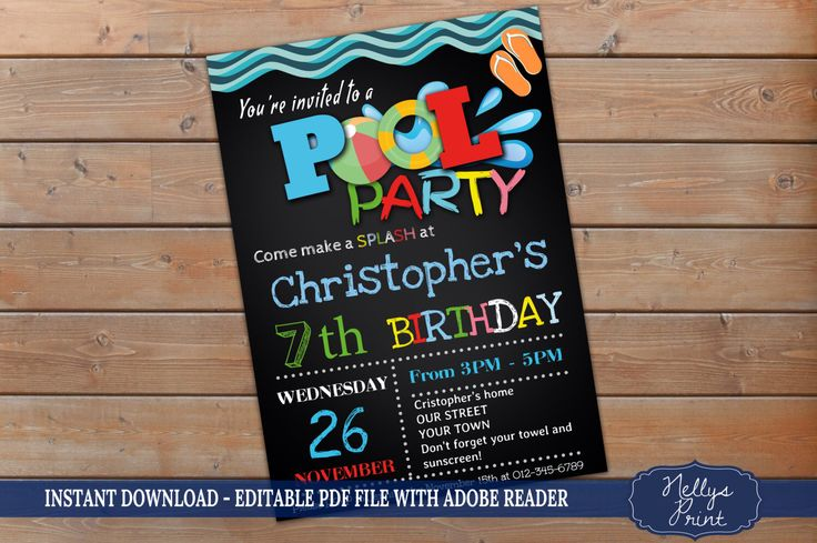 Pool Party Invitation, Pool Party Birthday Invitation, Pool Party Birthday, Self Editable PDF file, Instant Download, Boy Invitation by NellysPrint on Etsy https://www.etsy.com/listing/399931443/pool-party-invitation-pool-party