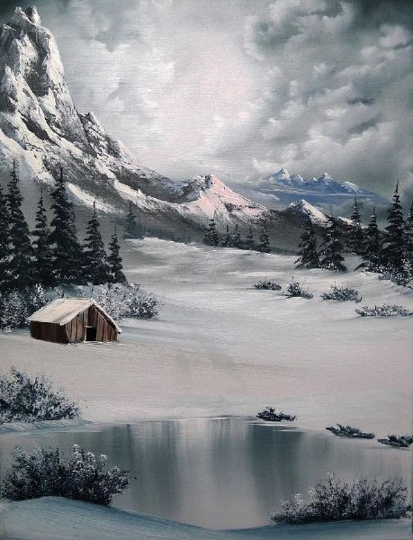 """No art board is complete without a Bob Ross painting. """"there are no mistakes, only happy accidents"""".:"""