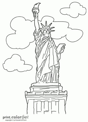 free statue of liberty coloring pages america 2 - Symbols America Coloring Pages