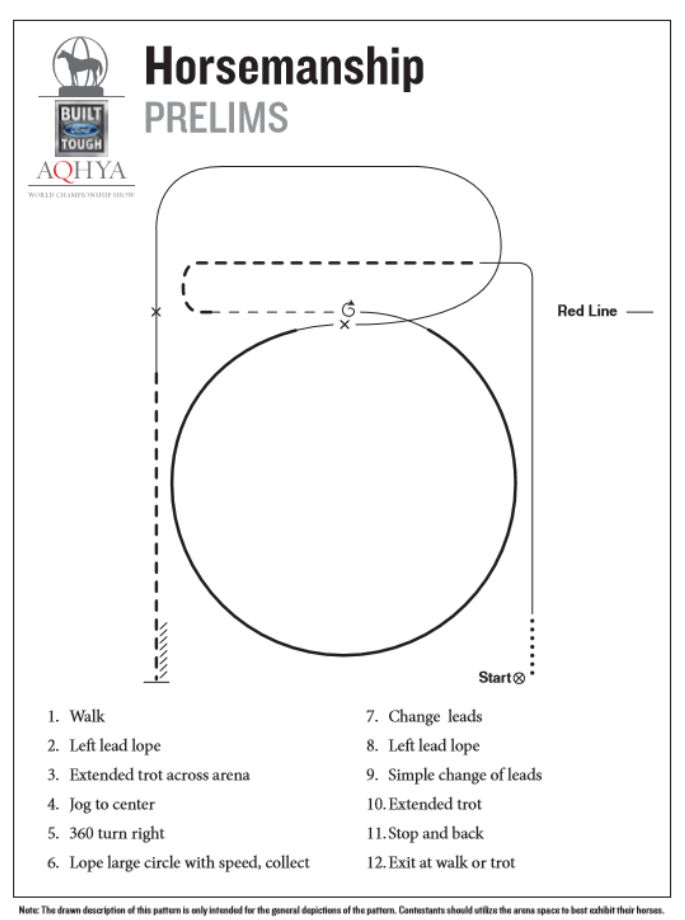 Horse show patterns | Horsemanship prelim pattern for the 2016 Ford Youth World.