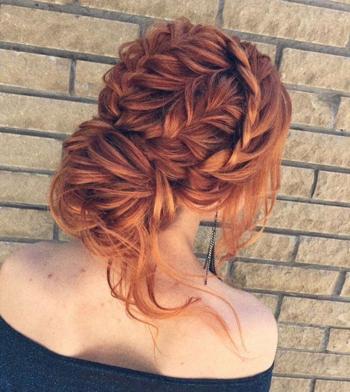Braid + Messy updo wedding hairstyle inspiration | messy bridal hairstyle with braids