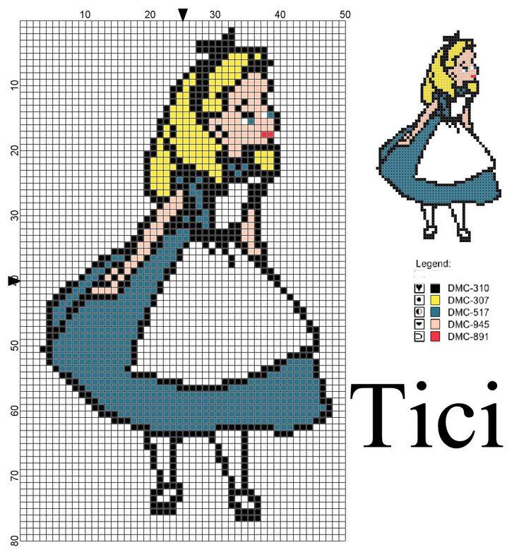 Schema punto croce Alice nel paese delle meraviglie   Il blog di Tici