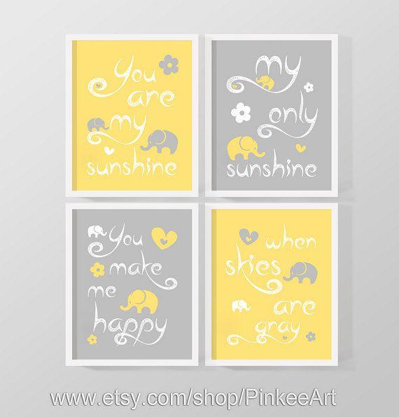 SALE yellow grey you are my sunshine baby decor my by PinkeeArt