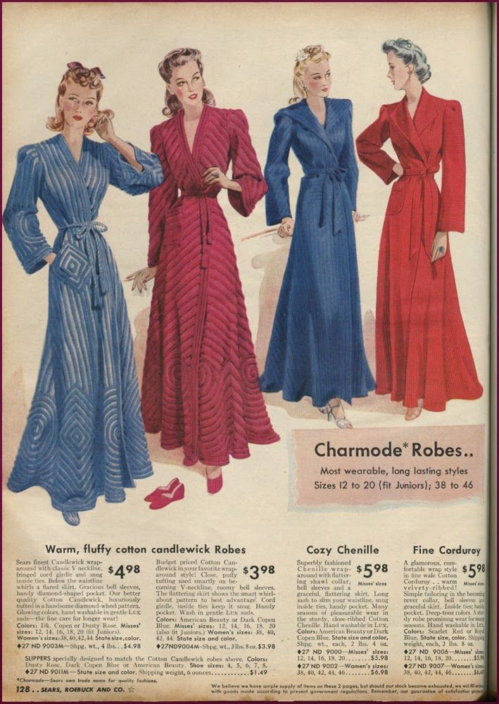Catalog Sunday: The Final MnM lounge wear edition chenille robes red blue tie belt 40s