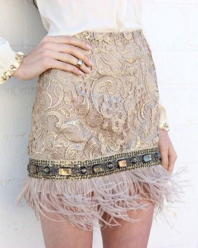 Feather Trim Embellished Skirt - Taupe #feather #skirt #lace #floral #blush #taupe #rhinestone #embellished