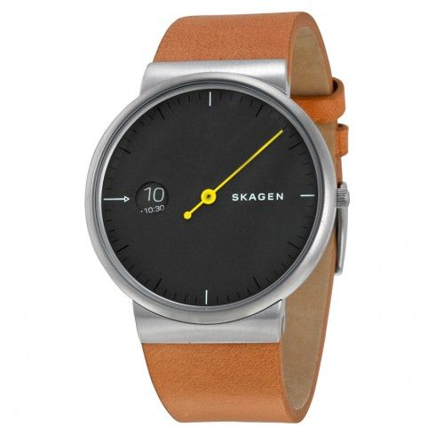 Skagen Ancher Grey Sandblast Dial Leather Men's Watch SKW6194
