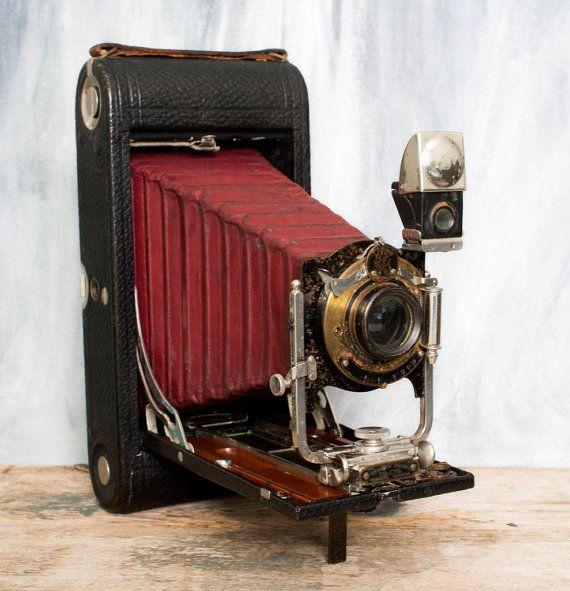 Vintage Kodak Camera, Eastman Kodak 3A  Folding Camera, Antique Kodak with red bellows and original case