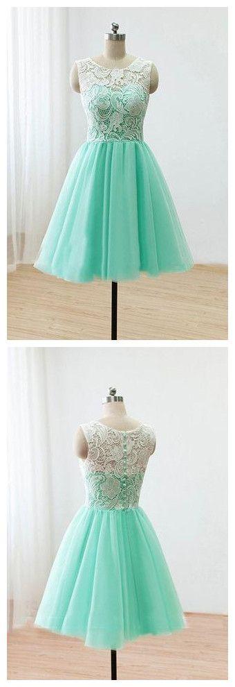 Mint Short Bridesmaid Dress,Lace Bridesmaid Dresses,Homecoming Dresses,