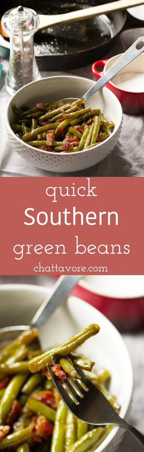 Quick Southern green beans give you the flavor of long-simmered traditional Southern green beans in barely over half an hour! | recipe from http://Chattavore.com