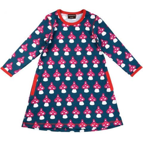 Navy Mushroom Aline Dress - ittikid • Scandinavian Children's Clothes - Scandinavian Baby and Kids Clothes | Organic Eco Friendly Kids Clothes from Smafolk, Maxomorra, Duns Sweden, Sture & Lisa