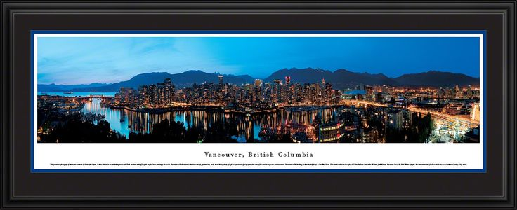 Vancouver Skyline Panoramic, BC Picture Framed Canada