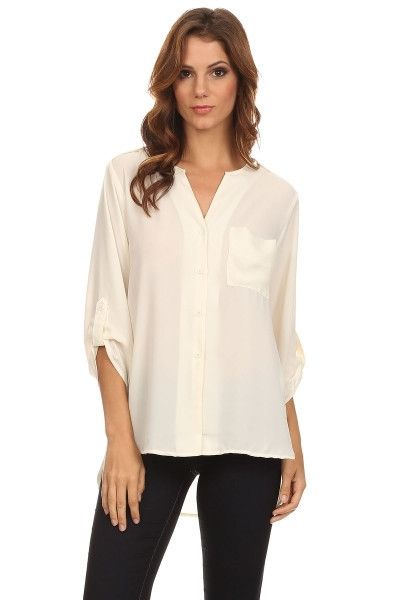 Relaxed yet professional, casual yet elegant. This high-low blouse is so versatile. Dress it up or down. Product details: Ivory High-low design Pocket on the upper left front corner 100% Polyester Hand wash cold or dry clean Model is wearing a size Small