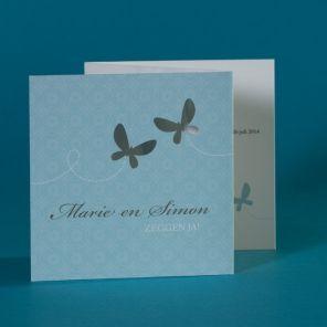 Fotokaart met vrolijk blauw en vlinders   Tadaaz