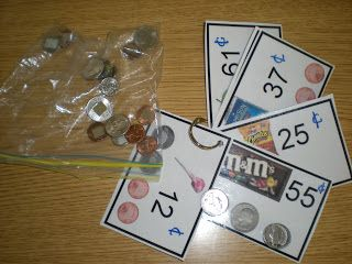 This activity is matching coins to the coin pictures onthe cards. To make this activity more interesting, I tried to use pictures of reinforcing items for my students!