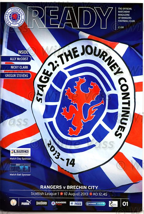 Official programme for Rangers v Brechin City SPFL League 1, 10th August 2013