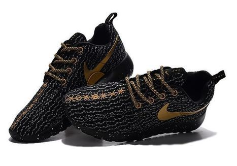 NIKE Roshe Run One x Yeezy 350 Boost Women Men Black Gold Shoes [Adidasultraboost-011] - $56.99 : | nikeshoes | Scoop.it