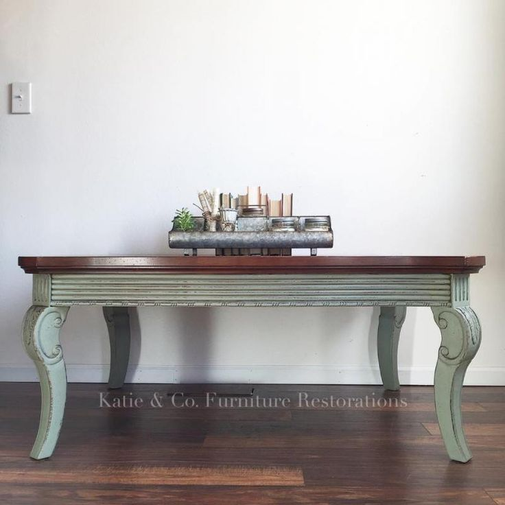"""""""Coffee table is GF Basil Milk Paint! I love this color!! Has a light glaze affect to give it a more vintage look."""" - Katie & Co. Furniture Restorations"""