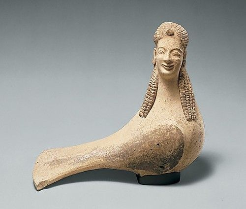 Terracotta Statuette of a Siren  Archaic Greece (550-500 BC)  The Sirens were mythical creatures said to lure sailors to their doom with their songs. In modern art they often appear as mermaid like creatures because of their link to the sea, however in Greek mythology they were these bird-women who clung to rocks. This statuette may have been a dedication in a sanctuary.  Source:The Metropolitan Museum of Art