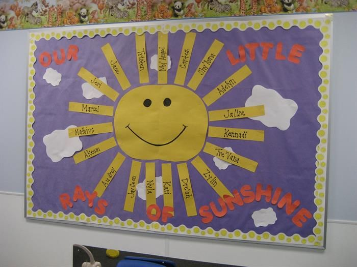 Simple sun themed bulletin board idea for spring or summer.  http://www.mpmschoolsupplies.com/ideas/4830/our-little-rays-of-sunshine-summer-bulletin-board/