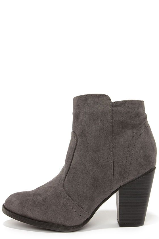 """These are the days of suede, and the Heydays Grey Suede Ankle Boots are topping the trend! A vegan suede upper with almond toe sweeps up into an over-the-ankle height shaft with a 5"""" side zipper and a comfortable fit. Stepped collar has a 10"""" interior circumference."""