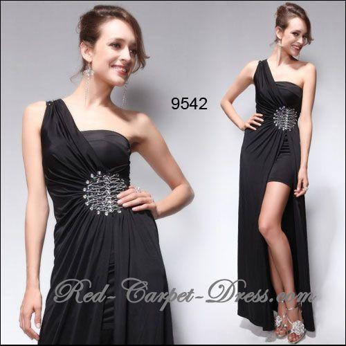 Super sexy black hi lo evening dress.