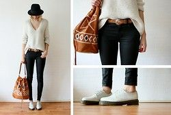 H&M Hat, Zara Knitted Jumper, Vintage Belt, Cos Jeans, Chic Wish Aztec Bag, Dr. Martens Shoes - Knitted - Sietske L