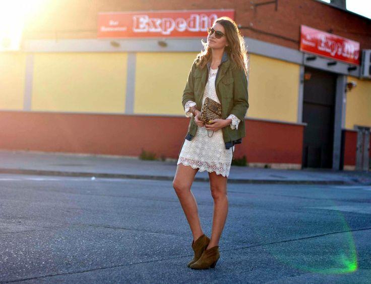Oysho Jacket, Topshop booties, Virginie Castaway dress, Raybans, and Urbaks bag