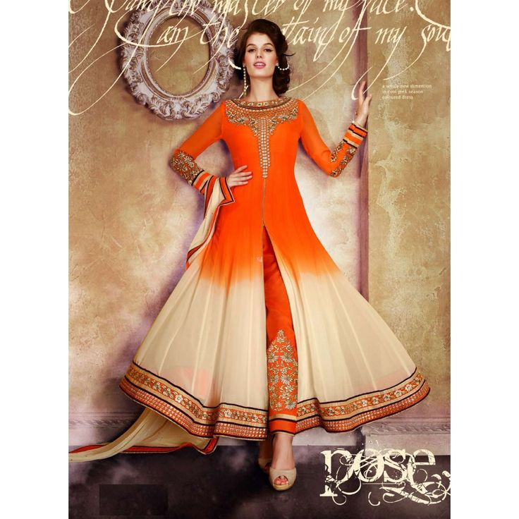 Orange Georgette Indian #Trouser Kameez With Dupatta- $63.18