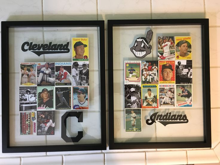 Baseball Card Display - with family photos in a float frame