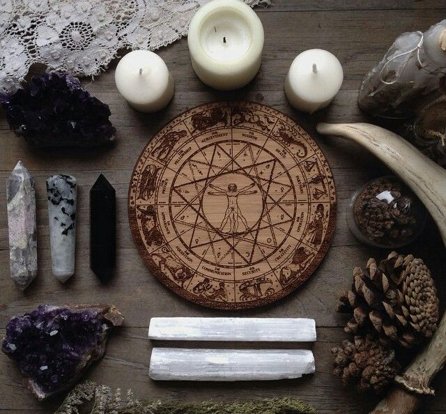 Altars: Pagan #Altar. Carved Sigils | Magick Circle | Witchcraft | Crystals | Candles